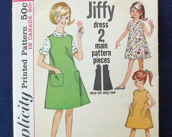 1963 Girls' Dress or Jumper Vintage Pattern, Jiffy Simplicity 5291, Size 10, Breast 28