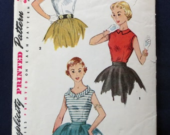 1954 Charming Sleeveless Blouse Vintage Pattern, Simplicity 4606, Teen, Size 10, Bust 28
