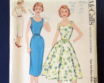 1955 Wiggle or Flared Sleeveless Dress Vintage Pattern, McCalls 3240, Teen Size 16, Bust 34