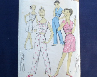 353a7bbecd 1950s Midriff Two-Piece Pajamas Vintage Pattern