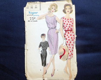 1960 Wiggle Dress Uncut Vintage Pattern, Vogue 5049, Size 12, Bust 32