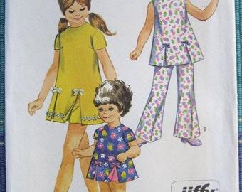 1970 Girls Dress or Tunic & Pants Uncut Vintage Pattern, Simplicity 8717, Size 10, Breast 28