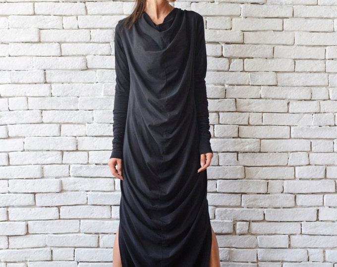 Maxi Black Dress/Long Loose Dress/Plus Size Kaftan/Black Oversize Tunic/Black Maxi Dress/Long Sleeve Dress/Extravagant Casual Black Dress