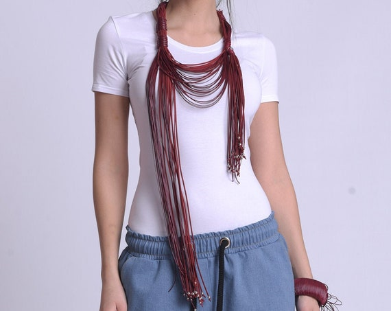 NEW Long Red Statement Necklace by METAMORPHOZA