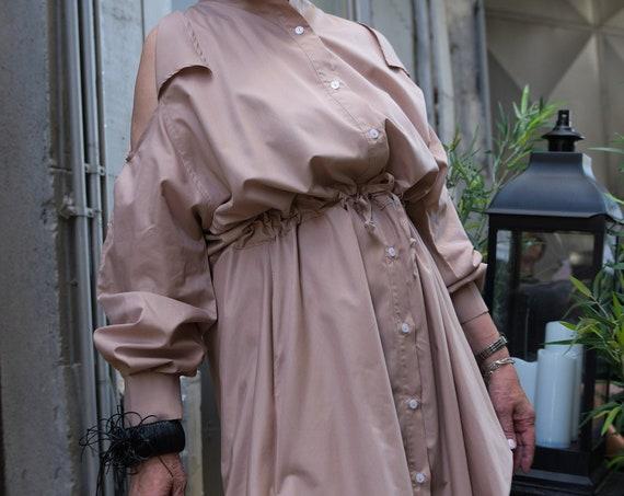 Cotton Shirt Dress / Plus Size Cotton Dress Boho Wedding Dress / Grandmother Gift