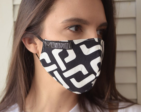 Black and White Face Mask/Double Layer Mask/Reusable Face Cover/Adult Safety Mask/Elastic Ear Loops Mask/Protection Mask/Filter Face Mask