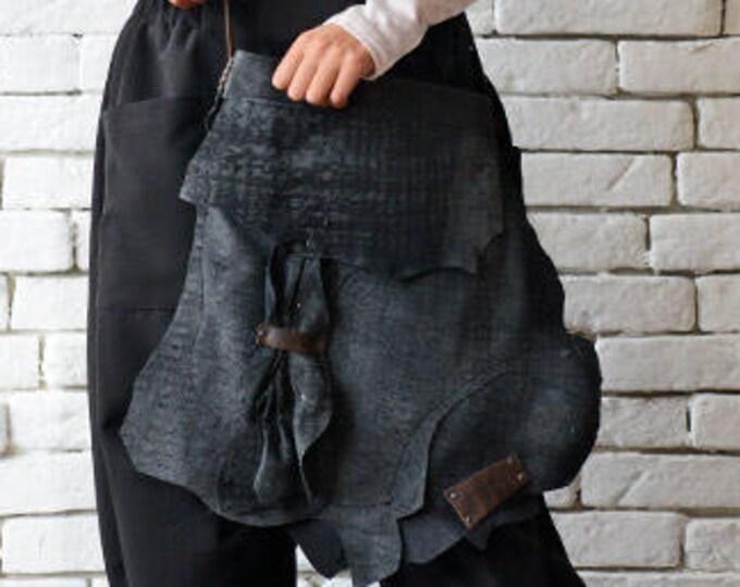 Dark Blue Vintage Bag/Navy Tote Bag/Asymmetric Leather Purse/Genuine Leather Extravagant Shoulder Bag/Casual Blue Handbag/Leather Tote Bag