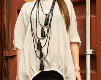 Black Leather Necklace / Five Laywer Pendant / Tassel Necklace from Genuine Leather / Extravagant Leather Accessory by METAMORPHOZA