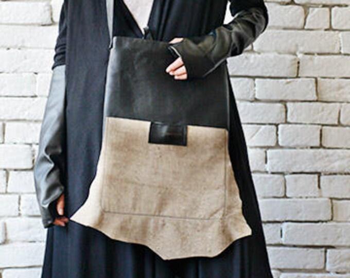 Black and Beige Genuine Leather Bag/Asymmetric Leather Tote/Extravagant Shoulder Tote Bag/Multi Color Designer Purse/Small Casual Handbag