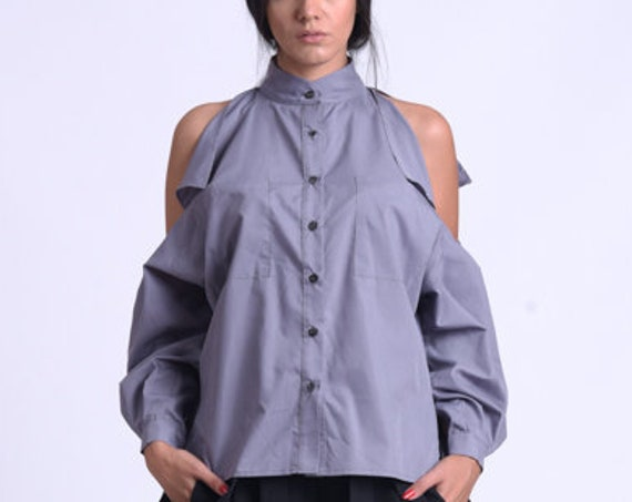 NEW Asymmetric Loose Shirt/Open Shoulders Maxi Top/Extra Long Cuff Sleeve Shirt/Button Shirt with Pockets/Grey Collared Tunic METSh0022
