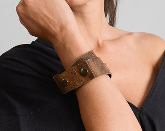 Genuine Leather Extravagant Bracelet/Brown Leather Hand Accessory/Handmade Leather Bracelet/Brown Wristband/Wrap Bracelet/Wide Long Band