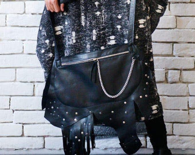 Asymmetric Black Clutch/Extravagant Handbag/Leather Bag with Chain/Small Shoulder Bag with Studs/Genuine Leather Black Bag/Black Tote Bag