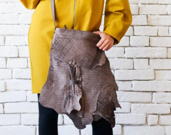 Asymmetric Brown Bag/Extravagant Torn Off Effect Leather Bag/Casual Shoulder Bag/Genuine Leather Tote/Modern Brown Purse/Brown Designer Bag
