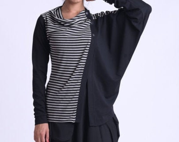 NEW Asymmetric Striped Cardigan/Loose Button Shirt/Extravagant Casual Top/Long Sleeve Maxi Tunic/Oversize Striped Top/Everyday Top METT0174