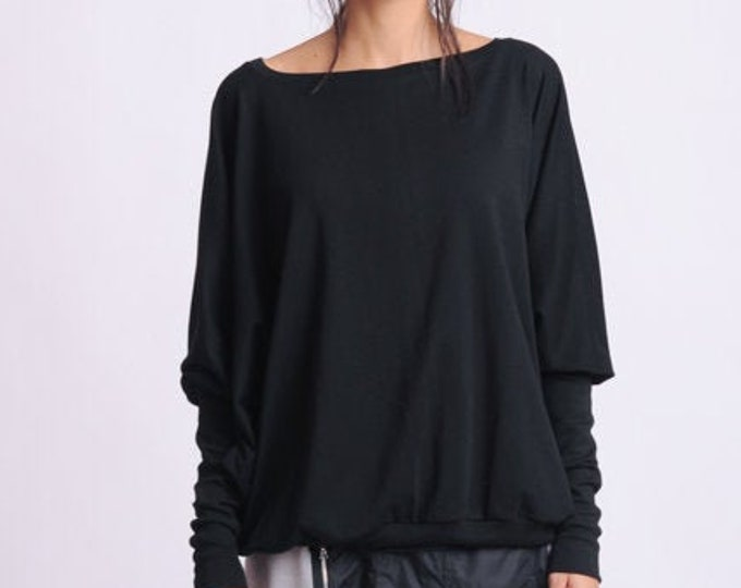 NEW Black Extra Large Top/Plus Size Blouse/Black Maxi Shirt/Long Sleeve Casual Top/Oversize Loose Everyday Top/Black Top with Long Sleeves