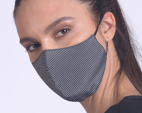 Washable Casual Mask/Striped Cotton Mask/Comfortable Face Cover/Two Layer Mask/Changeable Filter Mask/Mask for Protection/Stripe Safety Mask