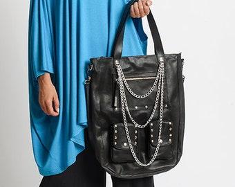 Black Studded Bag/Genuine Leather Maxi Tote/Extravagant Chain Bag/Black Shoulder Bag/Leather Maxi Bag/Black Leather Handbag with Chains