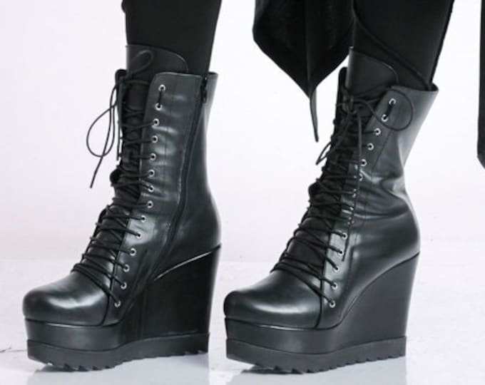 Black Genuine Leather Boots/Extravagant High Heels/Comfortable Leather Wedges/Full Platform Pumps/Black Leather Casual Shoes/Handmade Boots