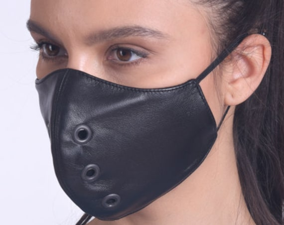 Black Genuine Leather Face Mask/Mask with Studs/Fashionable Face Cover/Mask with OEKO Certificate Filter/Black Everyday Protective Mask