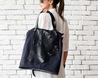 Everyday Denim and Genuine Leather Bag/Extravagant Tote/Multi Color Shoulder Bag/Denim Purse/Black Leather Maxi Bag/Large Cross Body Bag
