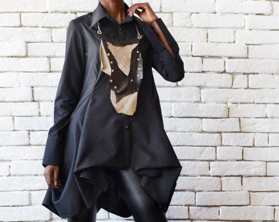 Black Drape Shirt/Extravagant Long Sleeve Tunic/Formal Asymmetric Button Shirt/Black Loose Top/Elegant Shirt/ Oversize Top with Sleeves