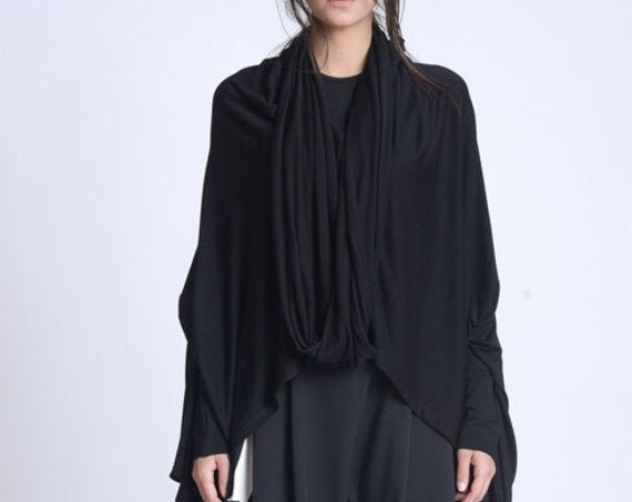 NEW Extravagant Plus Size Top/Oversize Asymmetric Collar Top/Thumb Hole Sleeves Blouse/Black Maxi Top/Extravagant Casual Scarf Top