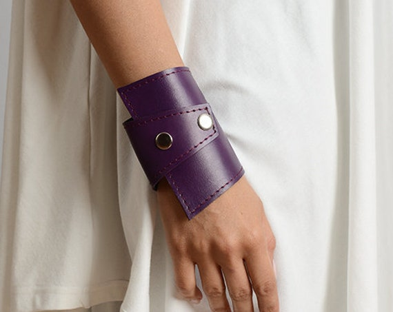 Purple Leather Extravagant Bracelet/Genuine Leather Bracelet/Purple Wrap Bracelet/Leather Wristband/Studded Leather Cuff/Long Bracelet