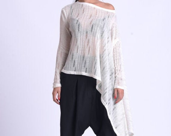 NEW Oversize Asymmetric Tunic/See Through Long Tunic Top/Champagne Maxi Tunic/Casual Asymmetric Top/Long Sleeve Transparent Top METT0172