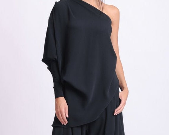 NEW Extravagant Loose Top/One Sleeve Black Blouse/Asymmetric Casual Tunic/Shirt with One Sleeve/Sexy Black Top/Naked Shoulder Black Top