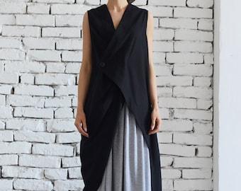 Black Linen Long Top/Asymmetric Loose Tunic/Black Maxi Top/Extravagant Summer Dress/Casual Tunic Dress/Plus Size Maxi Dress by METAMORPHOZA