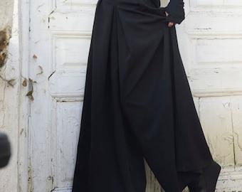 Black Maxi Pants / Wide Leg Long Pants / Oversize Skirt Pants / Hidden Pocket Pants by METAMORPHOZA