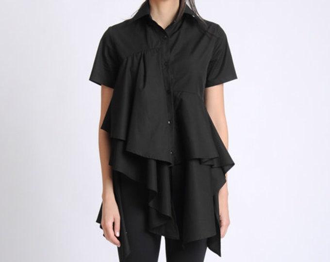 NEW Black Asymmetric Shirt/Extravagant Draped Top/Short Sleeve Button Shirt/Loose Black Shirt/Long Oversize Top/Elegant Black Ruffle Tunic