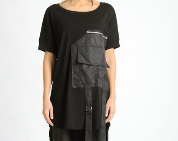 Extravagant Black Tunic/Front Pocket Loose Shirt/Black Short Sleeve Casual Top/Black Asymmetric Tunic/Extravagant Oversize Loose Top