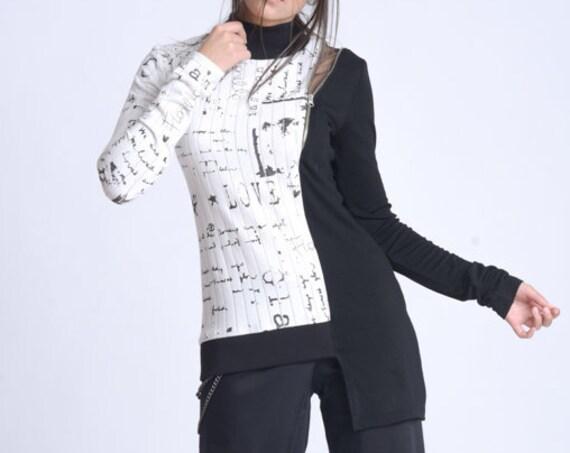 NEW Long Sleeve Everyday Blouse/Extravagant Pattern Top/Asymmetric Black Sleeve Blouse/Comfortable Everyday Top/Long Sleeve Pattern Tunic
