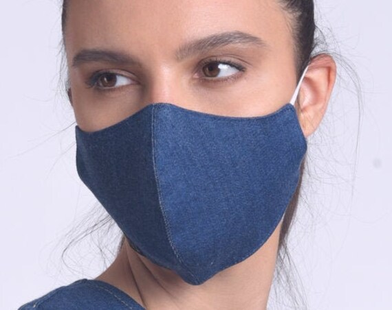Comfortable Everyday Face Cover/Dark Blue Denim Mask/Mask with OEKO Certificate Filter/Safety Mask/Reusable Adult Mask/Protection Face Mask