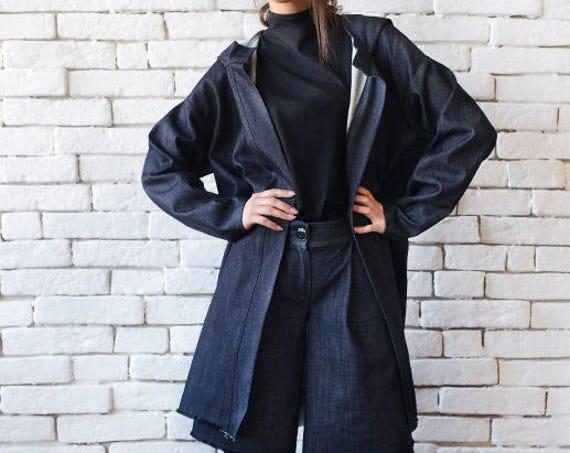 Denim Loose Set/Plus Size Maxi Jacket/Short Denim Pants/Coat and Pants Set/Denim Oversize Coat/Wide Leg Short Trousers/Casual Denim Set