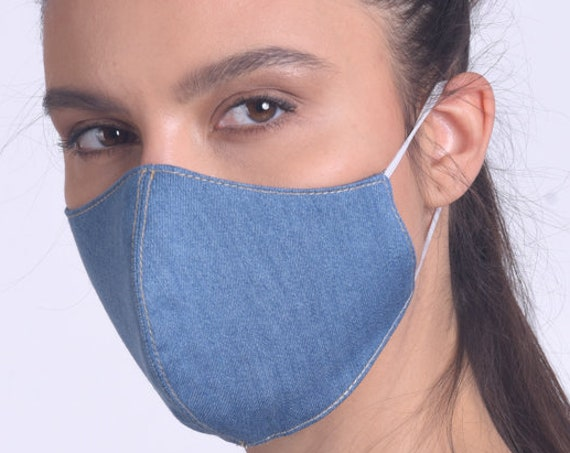 Blue Denim Face Mask/Face Cover with Filter/Washable Everyday Mask/Protection Denim Mask with Elastic Ear Loops/Reusable Safety Mask