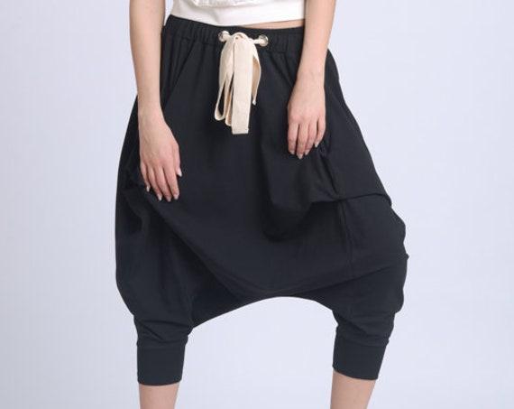 NEW Plus Size Maxi Pants/Drop Crotch Black Pants/Fallen Bottom Casual Trousers/Sporty Pants Elastic Waist/Everyday Loose Capris METP0066