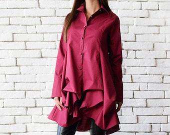 Wine Asymmetric Shirt/Elegant Long Tunic/Loose Burgundy Top/Long Sleeve Button Shirt/Formal Maxi Tunic Top/Wine Extravagant Long Shirt Top