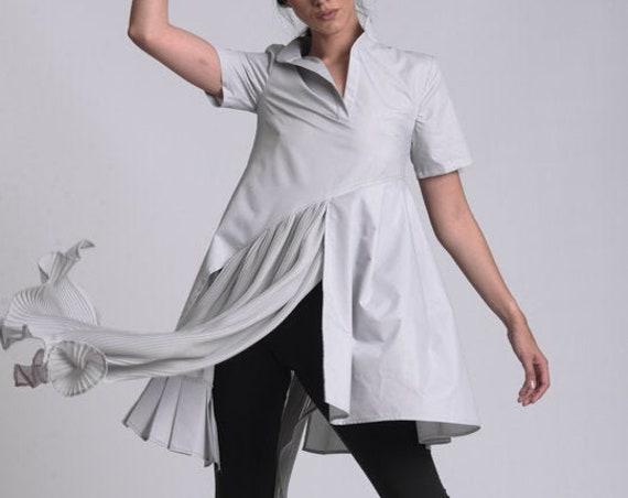 NEW Chiffon Pleated Shirt / Asymmetric Tunic / Loose Oversized Tunic / Plus Size Clothing