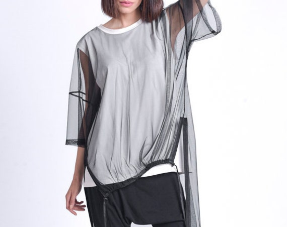 NEW Oversize Long Tunic Top/Extravagant Shirt with Mesh/Casual Sporty Tunic/Sheer Mesh Tunic/Black and White Summer Tunic METT0167