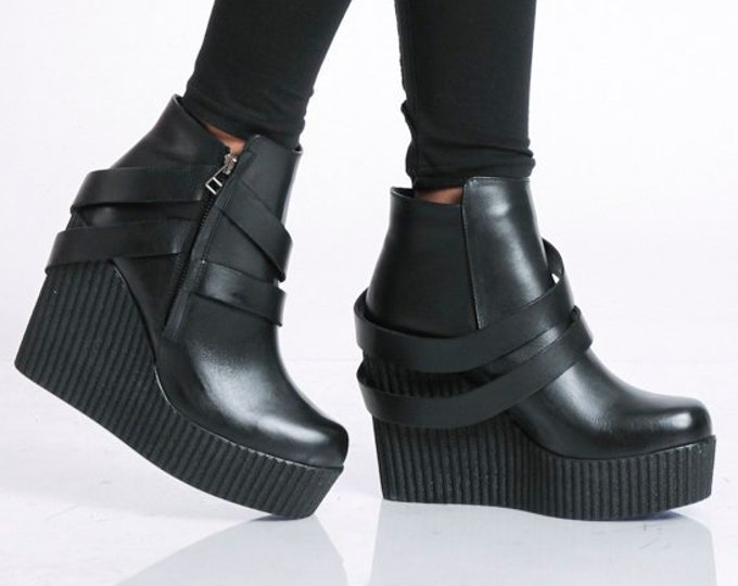 Black Leather Wedges/Extravagant Genuine Leather Boots/Black High Heels/Black Booties/Leather Platform Shoes/Black Leather Ankle Boots