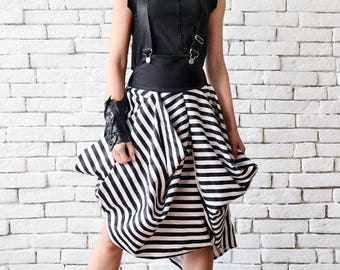 Asymmetric Black and White Skirt/Suspenders Stripe Skirt/Short Summer Skirt/Loose Party Skirt/Casual Midi Skirt/Monochrome High Waist Skirt
