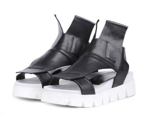 40% OFF Black and White Flats/Genuine Leather Summer Sandals/Extravagant Cut Out Shoes/Black Leather Casual Sandals/Comfortable Everyday Sho
