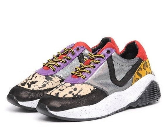 40% OFF Leopard Print Shoes/Extravagant Multi Color Sneakers/Gym Shoes/Jogging Shoes/Casual Comfortable Shoes with Laces/Everyday Footwear