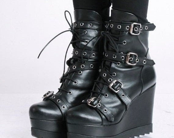 40% OFF Extravagant Boots with Decorative Belts/Black High Heels/Genuine Leather Wedges/Black Leather Boots/Modern Platform Shoes/Short Boot