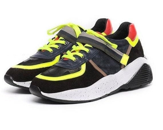40% OFF Neon Laces Shoes/Colorful Casual Sneakers/Comfortable Gym Shoes/Extravagant Multi Color Footwear/Thick Sole Sneakers/Jogging Shoes