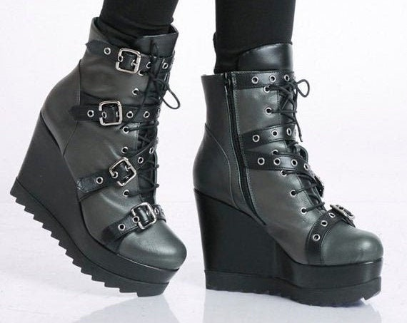 40% OFF Genuine Leather Boots/Handmade High Heels/Extravagant Ankle Boots/Khaki Leather Wedges/Boots with Decorative Belts/Oil Green Zipper