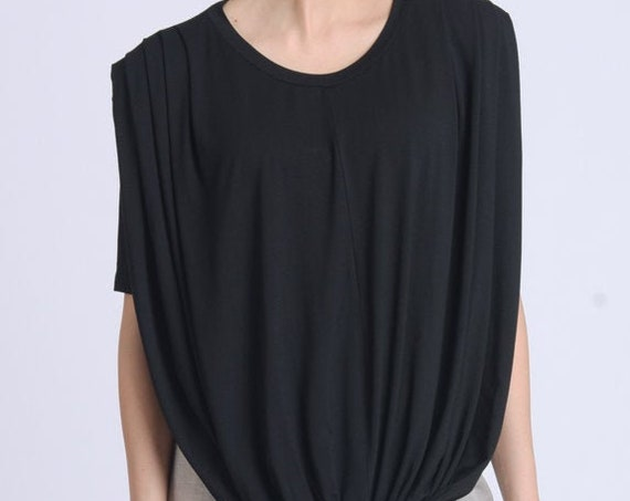 NEW Extravagant Tunic Top/Black Loose Shirt/Asymmetric Maxi Tunic/Half Sleeve Casual Top/Everyday Loose Tunic/Round Neck Top METT0163