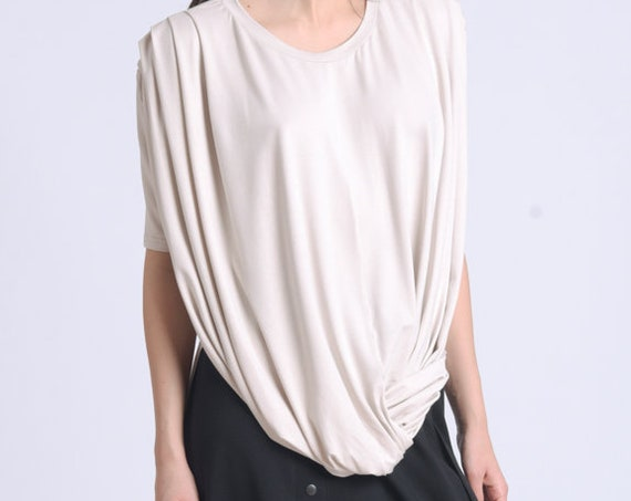 NEW Asymmetric Half Sleeve Top/Extravagant Casual Tunic/Loose Long Top/Summer Comfortable Blouse/Extra Long Back Top METT0163